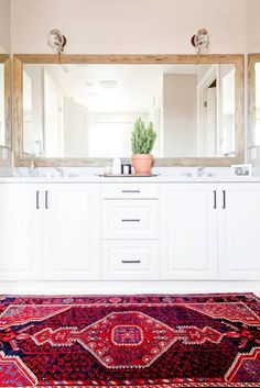 Red and Taupe and White Bathroom