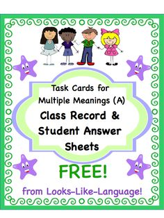 Looks-Like-Language FREEBIE! Student answer sheets and class tracking form for the Multiple Meanings (A) task cards! FREE!