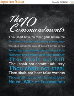 """Flash: 66% Of Entire Shop 10 Commandments Artwork - 16x20 - Instant Download - Digital Artwork by mormonlinkshop  1.70 USD  Let the commandments of God inspire others. Hang this now! """"For this is the love of God that we keep his commandments. And his commandments are not burdensome"""" - 1 John 5:3 INCLUDED IN THIS LISTING: This listing includes the 10 Commandments art image shown above in (8) different color schemes (use the same chalkboard background for all versions and just change the color…"""