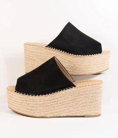 Black Platform Sandals, Peep Toe Platform, Wedge Shoes, Espadrilles Outfit, Black Espadrilles, Holiday Shoes, 5 Inch Heels, Spring Shoes, Black Suede
