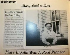 Newspaper clipping on Mary Ingalls death..