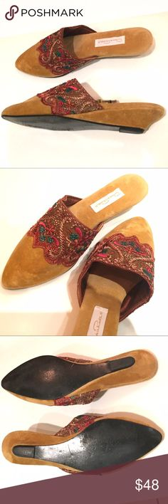 Oscar de la Renta velvet slides mules slippers Velvet slides.  Toffee/yellow Leather lined & leather sole.  Embroidered detail on front. Pointed.  No size on shoe but they are a 38 that run a whole size small & fit lime a Euro 37 or US size 7.  Low wedge. Oscar de la Renta Shoes Mules & Clogs