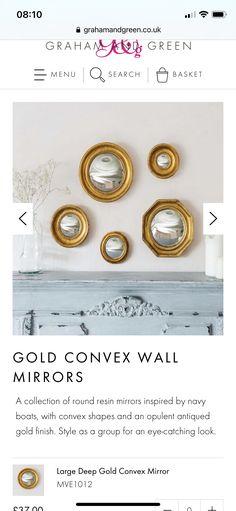 Convex Mirror, Antique Gold, Basket, It Is Finished, Cottage, Shapes, Antiques, Inspiration, Home Decor