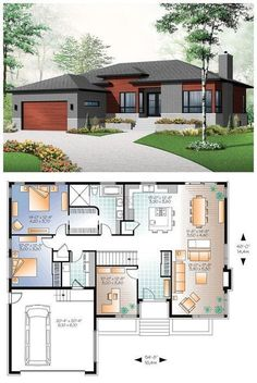 Small house with modern simple lines. 1676 Total L. - Small house with modern simple lines. 1676 Total L. House Layout Plans, Garage House Plans, Bungalow House Plans, Family House Plans, Modern Bungalow, Bedroom House Plans, Dream House Plans, Small House Plans, House Layouts
