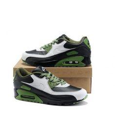 check out e0628 129d2 Mens Nike Air Max 90 White Black Olivedrab 6809331-380