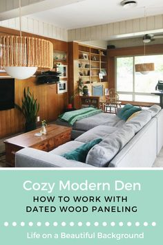 Cozy & Collected Mid-Century Modern Den: Embracing Dated, Original Wood Paneling how to work with dated wood paneling, wood paneled den, stylish wood paneling Wood Paneling Decor, Wood Panneling, Wood Paneling Makeover, Panelling, Knotty Pine Walls, Knotty Pine Kitchen, Knotty Pine Paneling, Wood Interiors, Industrial Interiors