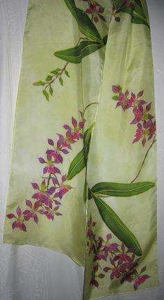 Silk scarf hand painted purple orchids stunning por CostaRicaSilks, $72.00