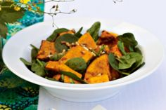 Roast pumpkin & spinach salad with honey balsamic dressing. This simple salad with sweet and tasty dressing will have your guests coming back for seconds. Pumpkin And Feta Salad, Roast Pumpkin Salad, Tiphero Recipes, Honey Balsamic Dressing, Honey Dressing, Cooking Recipes, Healthy Recipes, Savoury Recipes, Vegetarian Recipes