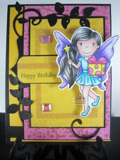 Fairy Avery with Gift by The Paper Nest Dolls, April Challenge DT project created by Leah Tees, odetopaper.blogspot.ca