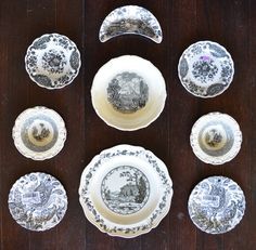 9 Mix n Match Vintage English China Black Transferware Plates Instant Wall Display or Collection