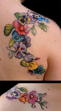 tattoo by Aubrey Mennella aubme.com ig: @aubreymennella pansies tattoo