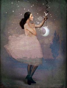 Quero uma lua inteirinha para mim! Só para adormecer nos seus braços e sonhar...  Libertária  Pintura: Catrin Welz-Stein