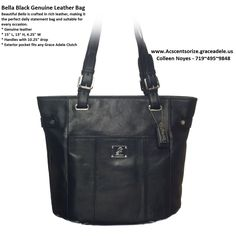 """Bella ~ Black   Beautiful Bella is crafted in rich leather, making it the perfect daily statement bag and suitable for every occasion.     • Genuine leather   • 15"""" L, 13"""" H, 4.25"""" W     • Handles with 10.25"""" drop   • Exterior pocket fits any Grace Adele Clutch   www.acscentsorize.graceadele.us"""