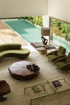DS House, #Brazil | @studioarthurcas #livingroom #pool