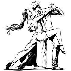 Dancing Drawings, Music Drawings, Dancer Drawing, Dancer Tattoo, Danse Salsa, Pallette, Tango Art, Tango Dancers, Dance Paintings