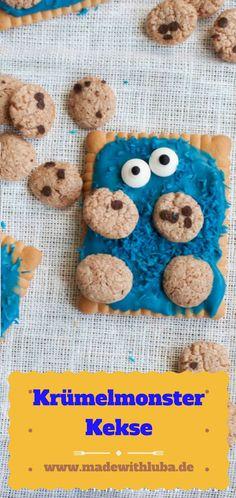 Ein lustiger Krümelmonster Keks für den Kindergeburtstag. Das Rezept dazu findest du auf meinem Blog.