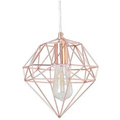 A faceted, gemlike wire cage in a shining rose-goldtone finish makes a strikingly modern hanging lamp. Style Name:Crystal Art Gallery Metallic Hanging Lamp. …