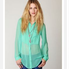 Free People mint julep green sheer tunic shirt Free People mint julep green sheer tunic shirt- buttons down the front. Gorgeous color! Free People Tops Button Down Shirts
