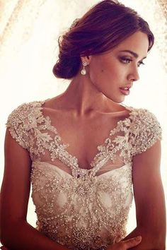 lace wedding dress with pearl detailing