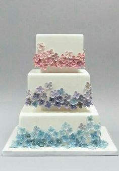 Beautiful Cake Pictures: Tiers of Tiny Pastel Flowers on White Cake - Birthday Cake, Flower Cake, Wedding Cakes - 90th Birthday Cakes, Birthday Cakes For Women, Bolo Floral, Floral Cake, Gorgeous Cakes, Pretty Cakes, Bolo Sofia, Birthday Cake With Flowers, Flower Birthday