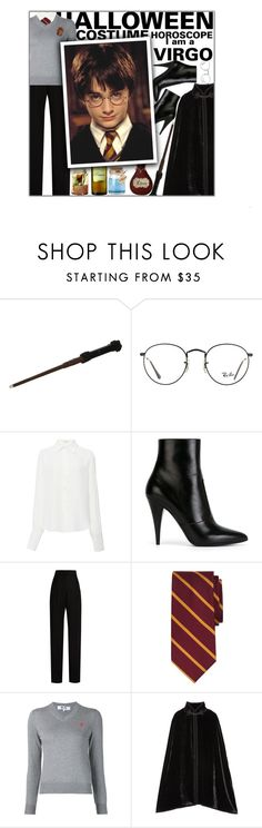"""""""Halloween Costume Horoscope: Virgo"""" by fashionbrownies ❤ liked on Polyvore featuring Ray-Ban, Tome, Yves Saint Laurent, Lanvin, Brooks Brothers, Play Comme des Garçons and Anna Sui"""