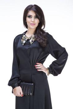 Chloe Abaya is Tailored using satin crepe, this Abaya features charming detailin. Chloe Abaya is Tailored using satin crepe, this Abaya features charming detailing including a vinta Abaya Designs, Islamic Fashion, Hijab Tutorial, Hijab Outfit, Fashion 2020, Silk Satin, Hijab Fashion, Couture, Clothes For Women
