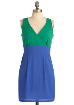 Hue of a Kind Dress - Green, Color Block, Pleats, Pockets, Sheath / Shift, Sleeveless, Urban, Blue, Short