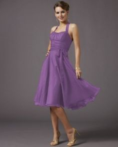 Purple Halter A-line Waist Sash Chiffon Bridesmaid Dress (HAD333) @Lori Bailey What do you think about this dress?  It comes in a bunch of colors