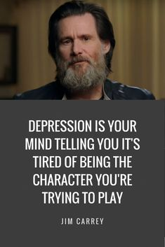 Very wise words from Jim Carrey. Great motivation to help to work on depression! Motivacional Quotes, Quotable Quotes, Great Quotes, Words Quotes, Quotes To Live By, Quotes Inspirational, Inspirational Quotes For Depression, Lyric Quotes, Meaningful Quotes