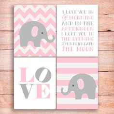 Elephants Nursery art print in Pink and Gray. Love sign &  I love you in the morning quotation 8x10 Set of 4 INSTANT DOWNLOAD nursery