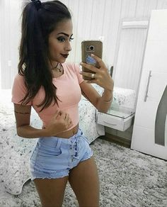 Surprise To See You Here On This fine Thursday Casual Outfits, Cute Outfits, Fashion Outfits, Womens Fashion, Girly Outfits, Black Ops, Sexy Shorts, Shorts Jeans, Sexy Hot Girls