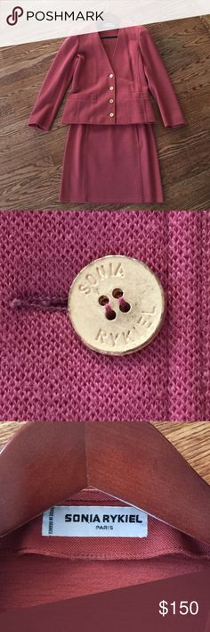 🔥flash sale 🔥Vintage Sonia Rykiel Sonia Rykiel wool jacket / skirt combo. Color Salmon. Size Small Sonia Rykiel Other