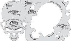 artool freehand airbrush templates Pac O Skullz Head Down