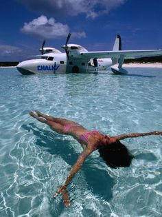 size: Photographic Print: Female Floating in Crystal Waters in Front of Seaplane, Bahamas by Greg Johnston : Artists Avion Jet, Amphibious Aircraft, Lake Pictures, Float Plane, Flying Boat, Private Jet, Surfing, Beautiful Places, Places To Visit