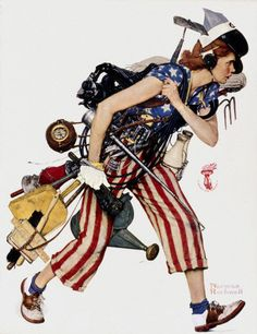 Liberty Girl, 1943, Norman Rockwell. 1940's art. So many things going on.