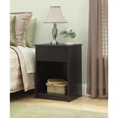 Mainstays Nightstand/End Table, Made of composite wood, Cinnamon Cherry
