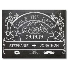Chalkboard Mustache Lips Vintage Save the Date Postcards
