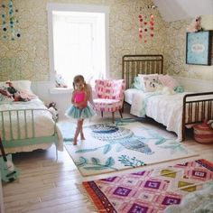 36 Ways To Configure A Shared Bedroom - Mommy Shorts Girls Bedroom, Bedroom Decor, 4 Year Old Girl Bedroom, Ideas Habitaciones, Shared Bedrooms, Little Girl Rooms, New Room, Room Inspiration, Decoration