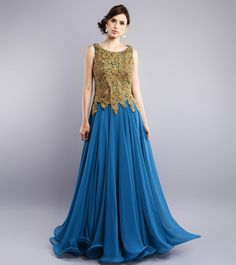 Study By Janak - Blue Zardozi Embroidered Georgette Flared Dress CLICK ON THE PHOTO TO SHOP!