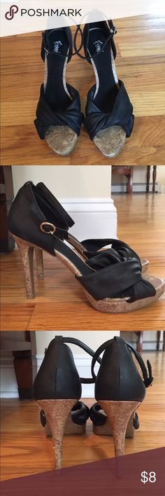 Fioni heels LAST CHANCE! Cork  and faux black leather heels. Surprisingly comfortable! Gently worn a couple times. fioni Shoes Heels