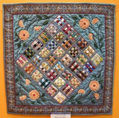 """Queenie's Needlework: Yokohama International Quilt Week 2013 - Miniature quilts, """"Ribbon & Ribbon"""" , in the style of orderly crazy quilt. Lovely!"""
