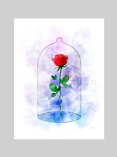 Enchanted Rose ART PRINT illustration Beauty and the Beast