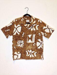 vintage 60s / brown bark cloth / hawaiian shirt / by Polynesian casuals Hawaii