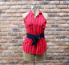 Red and Black Sexy Full Apron Upcycled from Button by ReThinkMe, $24.00