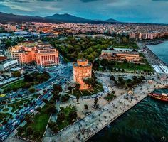 Macedonia Greece, Greek Isles, Beach Bars, Thessaloniki, Beautiful Islands, Places To See, Paris Skyline, City Photo, Landscape