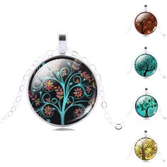 Tree of LifePendant Necklace Eternal Tree Art glass cabochon silver plated chain choker Fashion necklace for women Jewelry