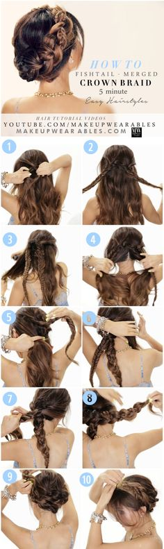 12 pretty hairstyles for long hair. Suitable for straight & curly. Would look lovely for a wedding, prom or other special occasion.
