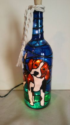 Beagle Puppy Bottle Lamp Hand Painted Stained Glass Look Lighted by HillysBoutique on Etsy