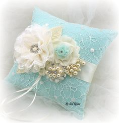 ***READY TO SHIP   This 8 inch square ring bearer pillow is just stunning! The colors are chic and delicate. Mint, aqua and ivory tones can be admired