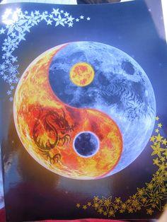 Sun Moon yin yang by CameronPeter Arte Yin Yang, Ying Y Yang, Yin Yang Art, Yin And Yang, Ying Yang Wallpaper, Galaxy Wallpaper, Foto Fantasy, Fantasy Art, Gameroom Ideas